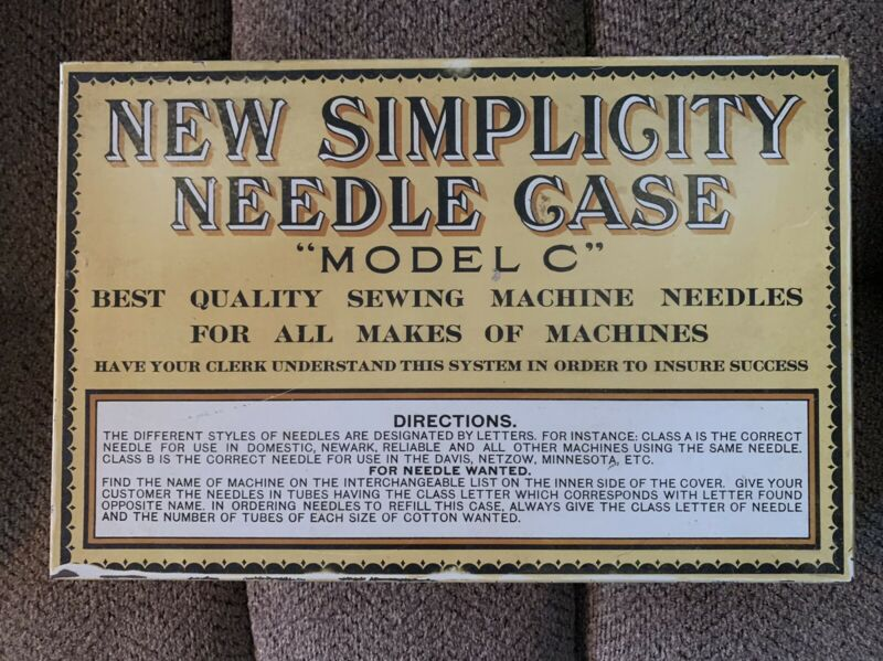 "VINTAGE ADVERTISING - NEW SIMPLICITY NEEDLE CASE ""MODEL C"" NEEDLE CASE LITHO TIN"