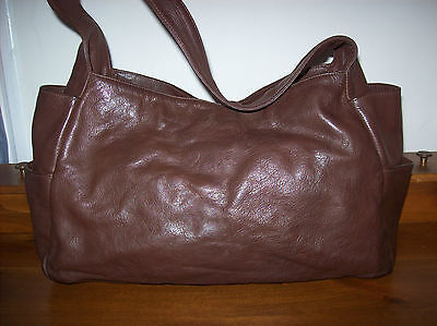 EILEEN FISHER large brown leather tote/shoulder bag with outside pockets on Rummage