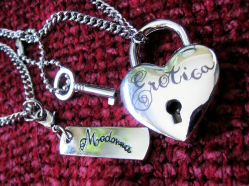 MADONNA SEALED HEART LOCK & KEY DOG TAG CHAIN NECKLACE EROTICA SEX BOOK PROMO