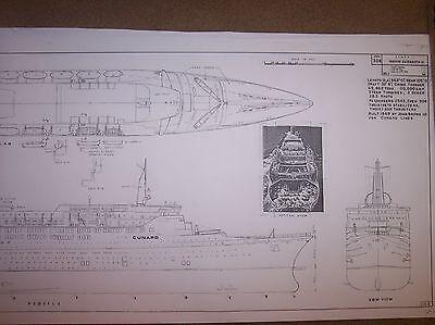 Q E II  ship boat model plans