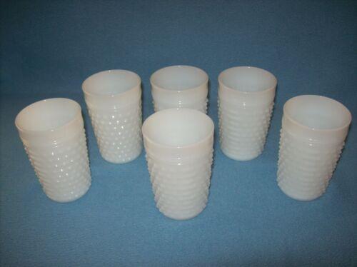 Set of 6 Vintage MCM Anchor Hocking Hobnail White Milk Glass 8 Oz Tumblers-NICE