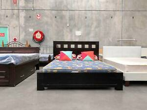 DELIVERY TODAY STRONG WOODEN queen bed frame (mattress for sale)
