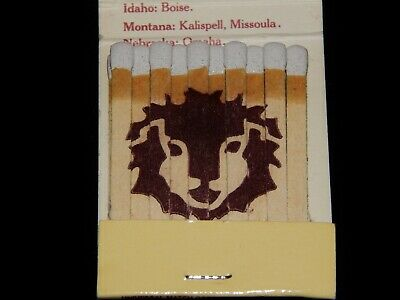 Vintage Matchbook, RED LION INNS, Hotels Of The West, Lion's Head Stencil Logo