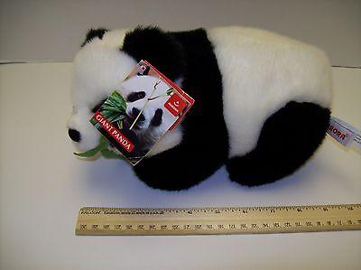 "Plush Aurora Giant Panda Cub eating Bamboo 10"" Long - New"