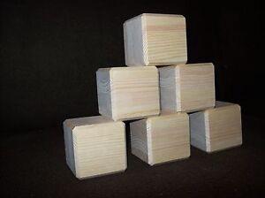 6 pine wooden cubes,building blocks,bricks,chamfered,70mm square,crafts,arts