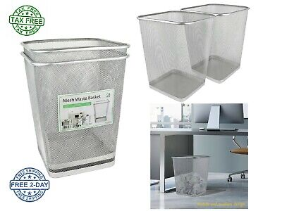 -  Mesh Waste Basket Trash Can Square Six Gallon Silver Two Pack Solid Metal Base