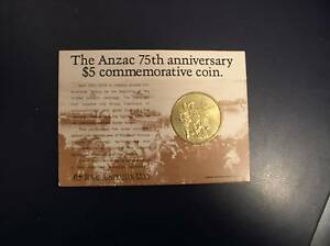 ANZAC 75TH ANNIVERSARY $5 COMMEMORATIVE COIN North Tamworth Tamworth City Preview
