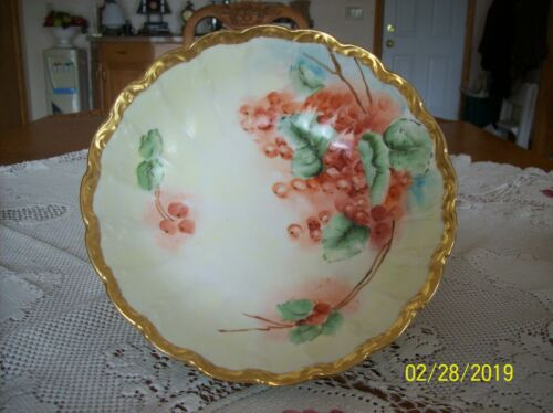 Porcelain China Handpainted Berry & Green Foliage Design Antique Serving Bowl