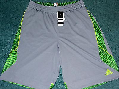 NWT Mens Adidas L Tech Gray/Green Slime Edge Shockwave Basketball Shorts - Slime Basketball