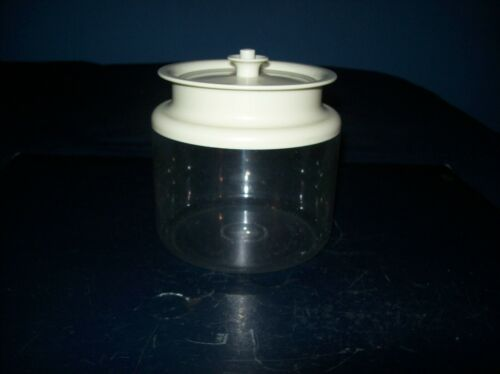 VINTAGE TUPPERWARE COUNTERPARTS ROUND CONTAINER WHITE PUSH BUTTON LID 3 3/4 CUP