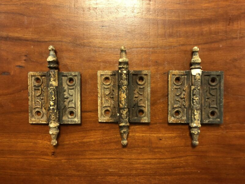 Eastlake 2 1/2 x 2 1/2 Cast Iron Hinge Set Of 3