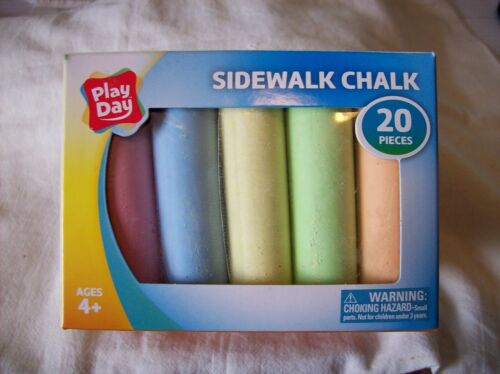 Play Day - Sidewalk Chalk 20 Pieces, 6 colors Factory Sealed - Brand New