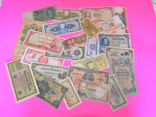 24 FOREIGN WORLD BANKNOTES - Circulated