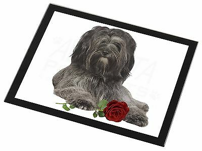 Tibetan Terrier with Red Rose Black Rim Glass Placemat Animal Table G, AD-TT2RGP