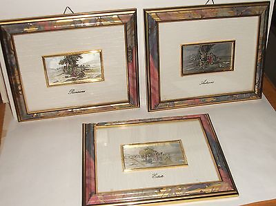 THREE PIECE STERLING SILVER ENAMEL ESTATE,AUTUNNO,PRIMAVERA ITALIAN PAINTINGS on Rummage