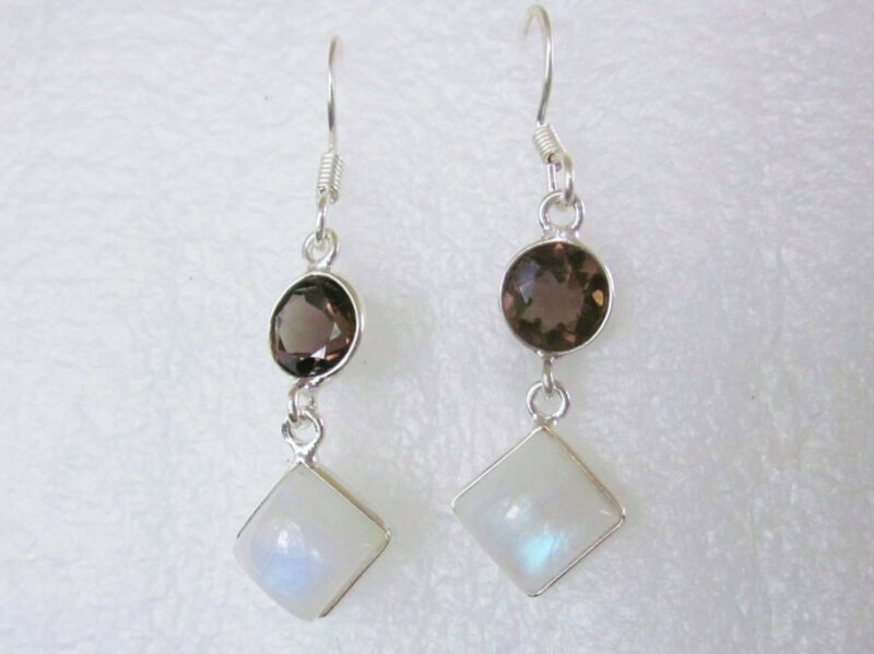 Rainbow Moonstone & Smoky Quartz Dangle Earrings, 925 Sterling Silver -- 7.65cts
