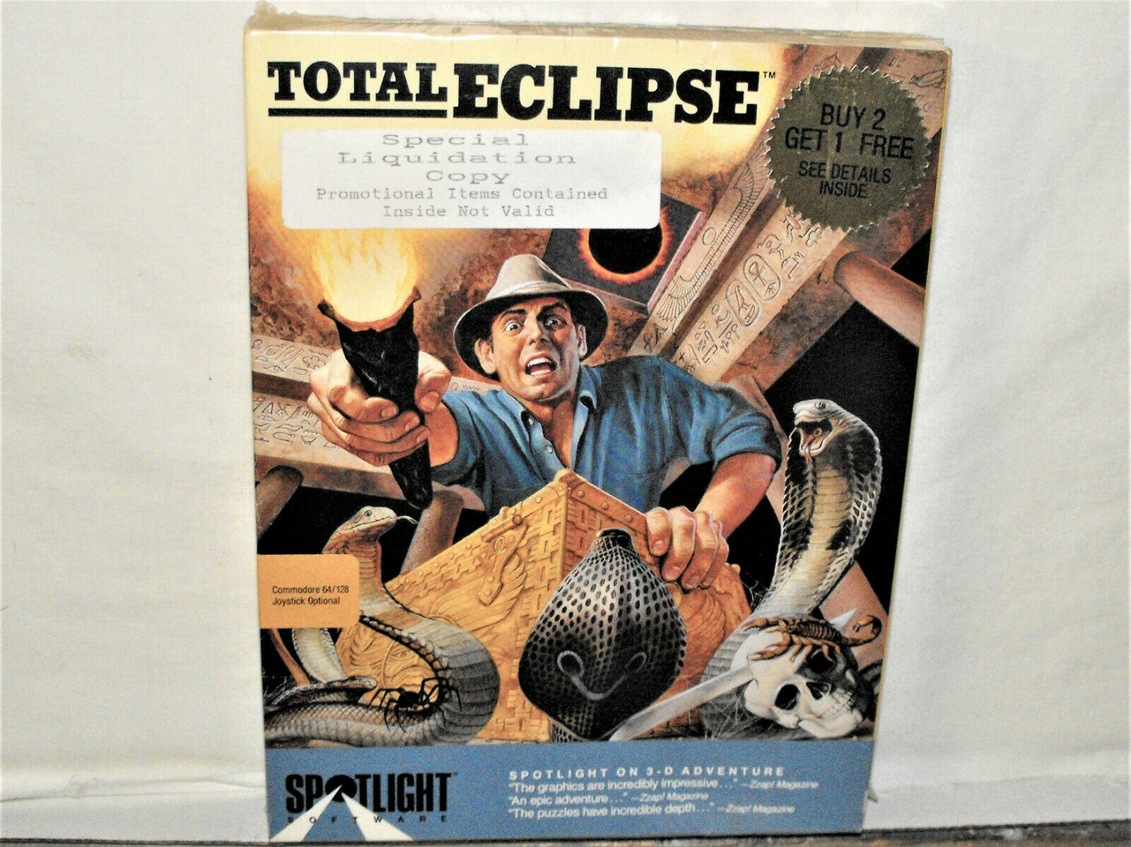 Computer Games - Commodore 64/128 Computer Game TOTAL ECLIPSE Spotlight Software Disk Sealed Box