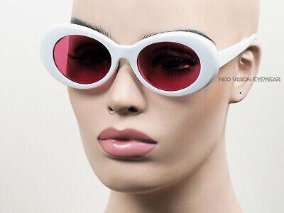 Groß Oval Wolken Sonnenbrille Kurt Cobain Vintage Pinup Stil Weiß/Pink K10W