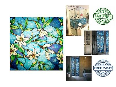 Decorative Privacy Frosted Stained Glass Window Film For Home Bedroom And Office](Office Window Decorations)