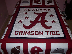 HOME MADE ALABAMA CRIMSON TIDE QUEEN SIZE QUILT/HOUNDS TOOTH HAT