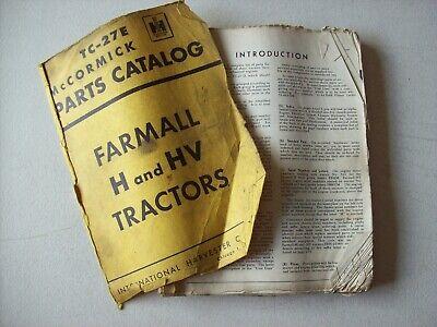 Original International Mccormick Farmall Tractors H Hv Parts Catalog Manual
