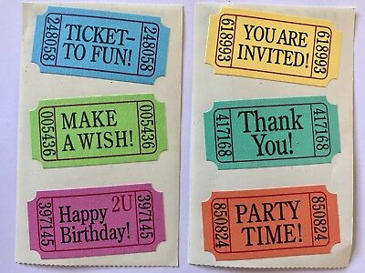 2 MODULES BIRTHDAY PARTY TICKETS MRS GROSSMANS TEXTURED STICKERS  - Party Tickets