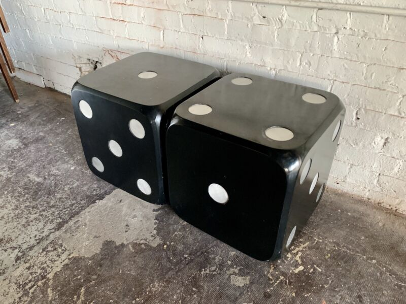 VINTAGE MODERN PAIR DICE END TABLES BLACK BARWARE LOUNGE LACQUER GAMER GAME 80s