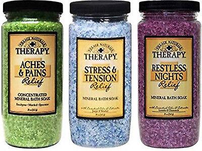 Mineral Soak (Village Naturals Therapy Mineral Bath Soak Variety Set 3 Pack Salts 20 oz jars)