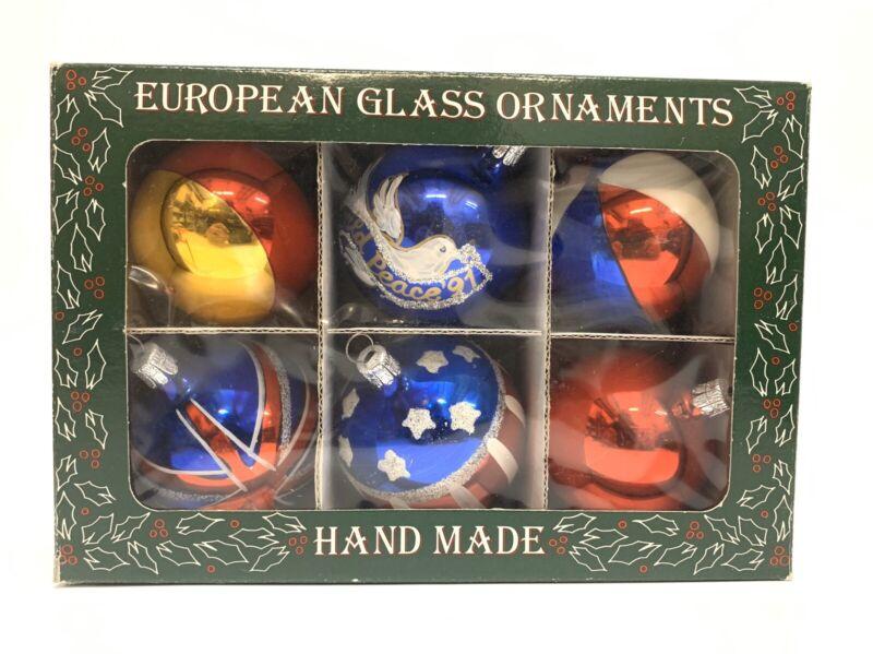 European (Czechoslovakian Handblown) Glass Christmas Ornaments- EUC w/Box