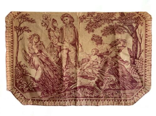 Beautiful Rare Early 19th Century French Linen Scenic Toile Fabric (3054)