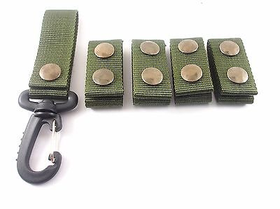 Gg4 5 Pcs. Army Police Green Nylon Duty Belt Keepers Snaps Fit Belts 2 Inch