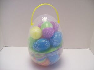 Giant XL 10 Inch Clear Easter Egg with Handle plus 30 jumbo eggs - NEW