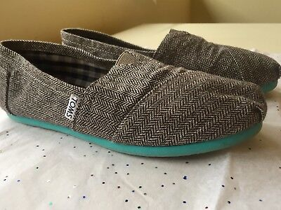 Women's Size 6.5 TOMS Slip On Flats Herringbone Tweed Woven Blue Teal - Turquoise Glitter Toms