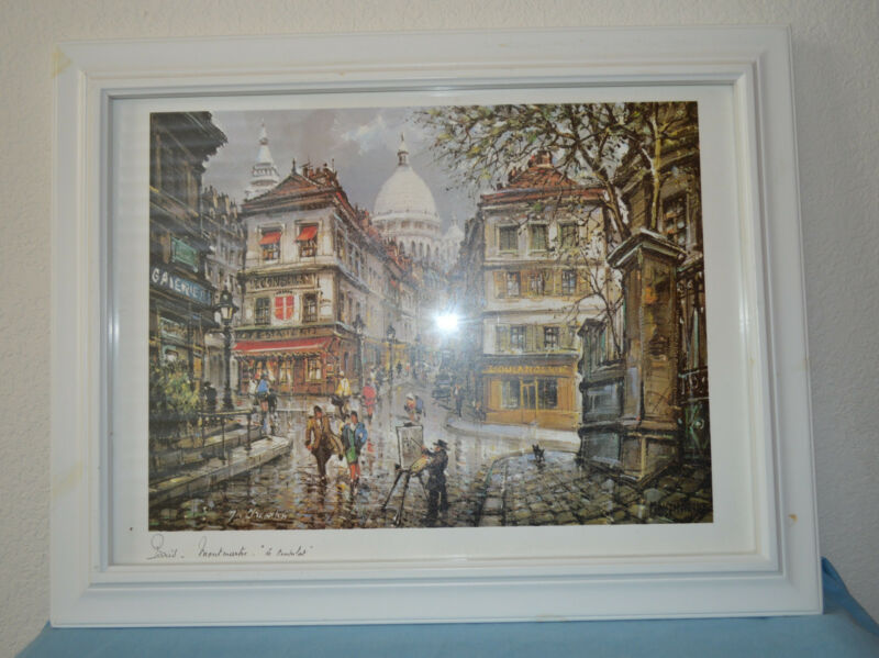 Paris Montmartre Print Le Consulate  Framed 18 1/2 by 14 1/2