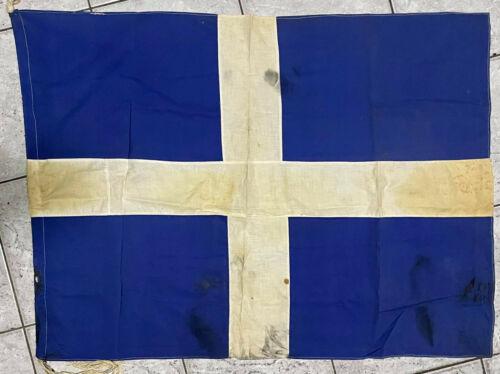 Vintage Greece Greek Cross Cotton Flag 78x110cm, Very Very Old