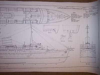 R M S CARONIA ship boat model plans