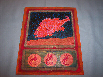 R. Cyr artist 'Red Snapper and Three Prawns' Painting - Mixed Media on Wood 10x8