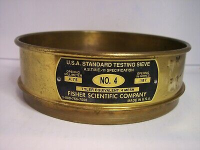 8 Id U.s.a. Standard Testing Sieve No.4 Screen 4.75mm Or .187 Fisher Co.