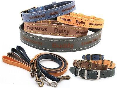 Personalisiertes Leder Hundehalsband Welpenhalsband und Leine, Feinste Qualität