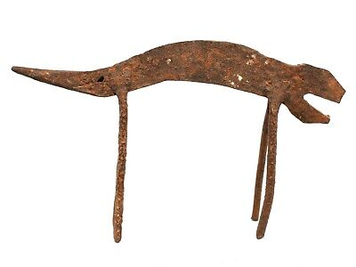 Art African African Arte Antique Chameleon Forged Iron Lobi - Iron Item 22,5 CMS