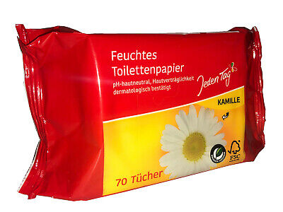 12x Feuchtes Toilettenpapier a 70 Blatt !! Feuchttücher pH-hautneutral Kamille