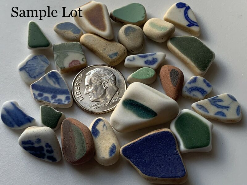 25pc Sm Colorful Pottery~Genuine Surf Tumbled Sea Beach Glass Jewelry/Crafts