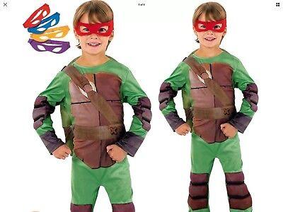 Boys Super Hero Official Teenage Mutant Ninja Turtle Costume Fancy Dress Age 5/6](Official Ninja Turtle Costume)