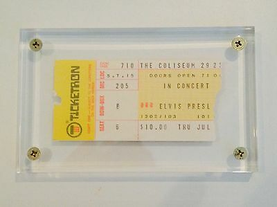 Authentic 1975 Elvis Presley concert ticket stub in holder with COA