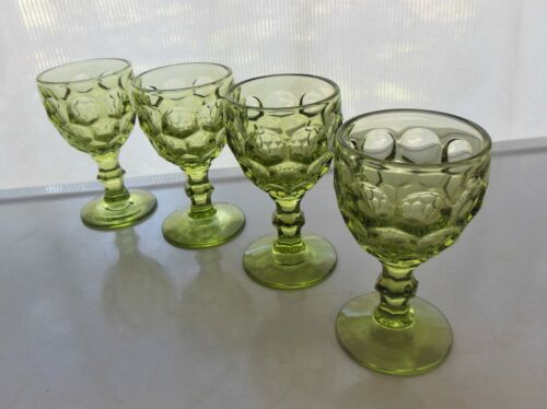 Imperial Glass 4 Green Provincial 4 ounce Wine Goblets Glasses