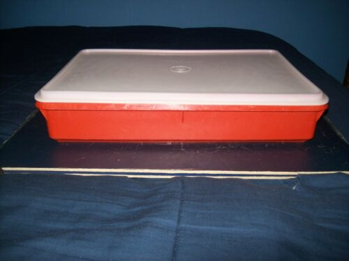 """VINTAGE TUPPERWARE RED RECTANGLE STORAGE CONTAINER WITH LID 13"""" X 9"""""""