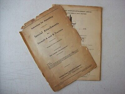 Original International Farmall A B Tractors Special Instruction Manual 1940