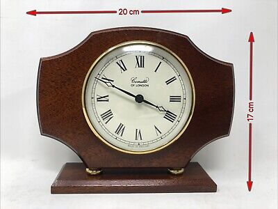 Comitti Of London Quartz Wooden Cast Clock-Working  - Back Cover Missing 17x20cm