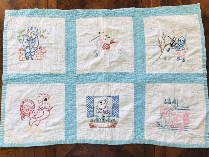 Antique Small BABY QUILT Nursery Decor Embroidered Blocks Nursery Rhymes Vintage