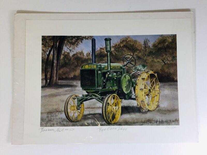 Vintage Painting Signed Print John Deere Tractor 1992 Barbara Mc Gee